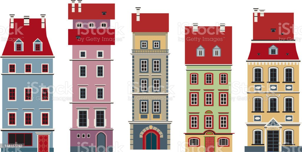 Five houses royalty-free stock vector art