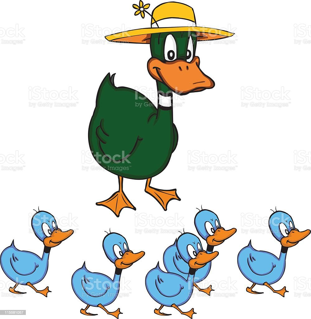 Five Little Ducks and Mummy Duck royalty-free stock vector art