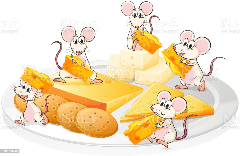 Five mice with cheese and biscuits royalty-free stock vector art