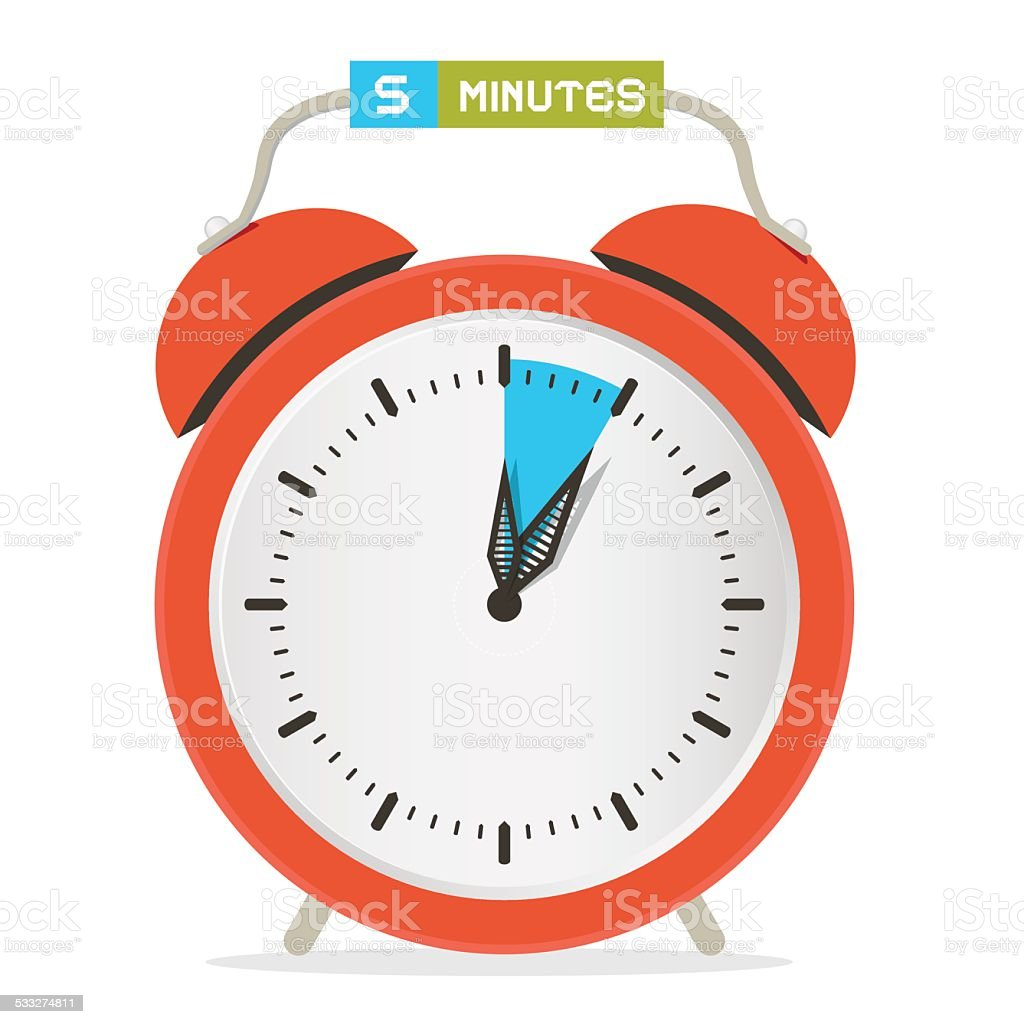 Five Minutes Stop Watch - Alarm Clock Vector Illustration vector art illustration