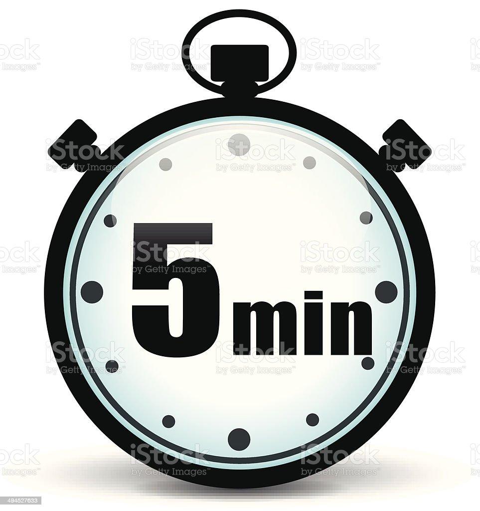 Five minutes stopwatch vector art illustration