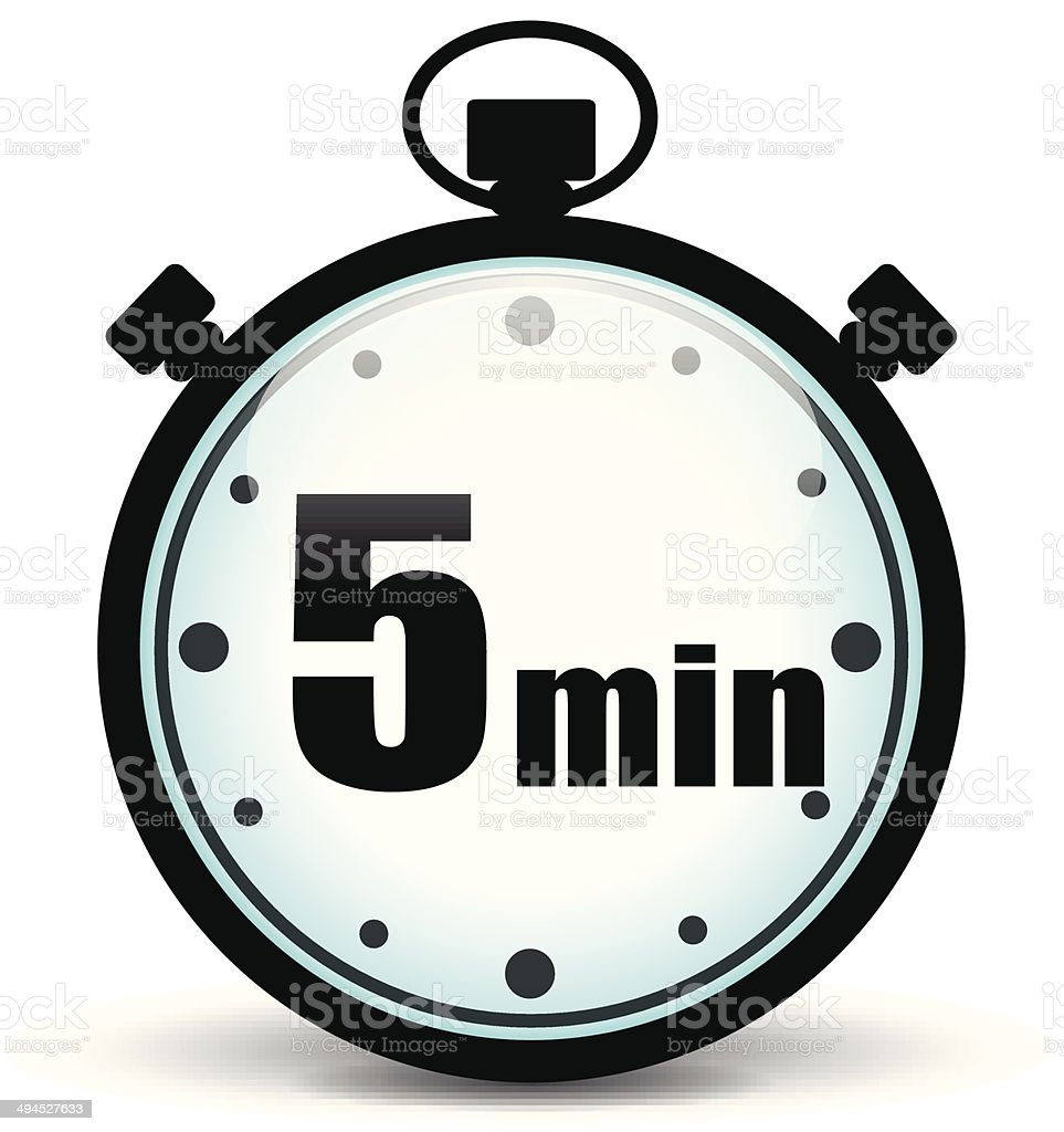 Five minutes stopwatch vector art illustration