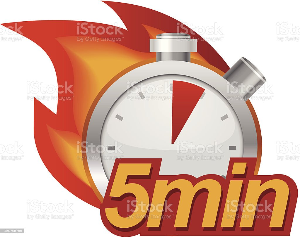 Five minutes timer vector art illustration
