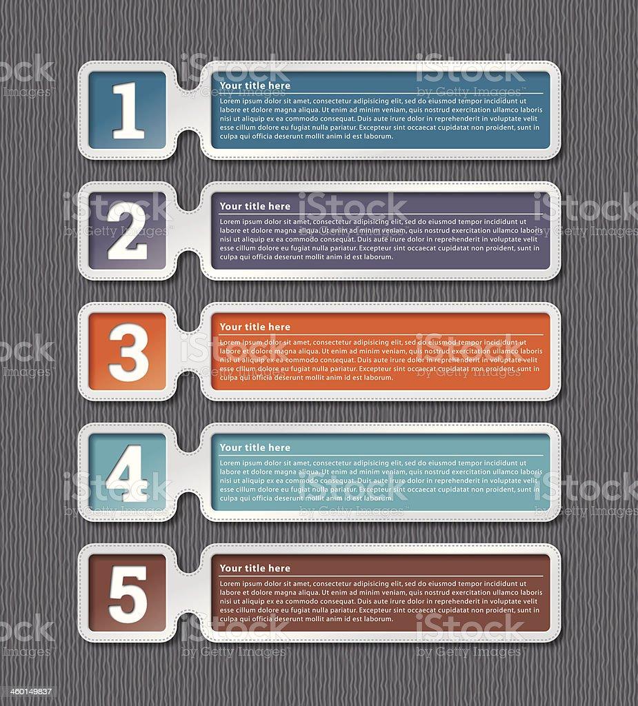 Five multicolored infographic labels vector art illustration