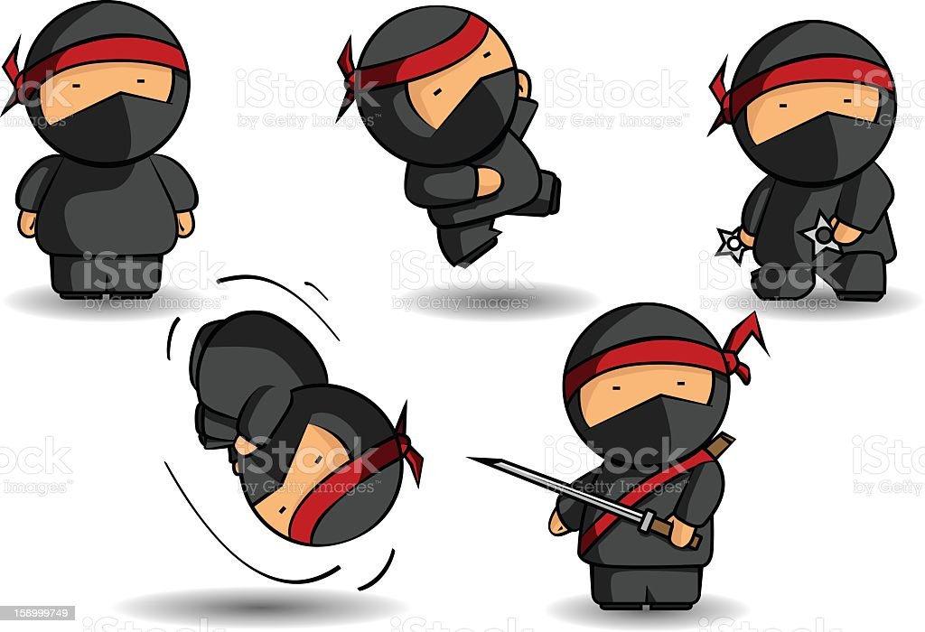 Five ninja cartoons with various weapons vector art illustration