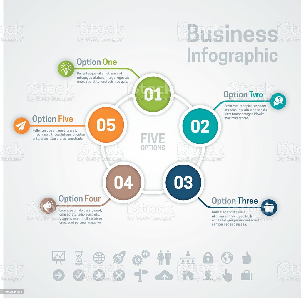 Five Option Business Infographic vector art illustration