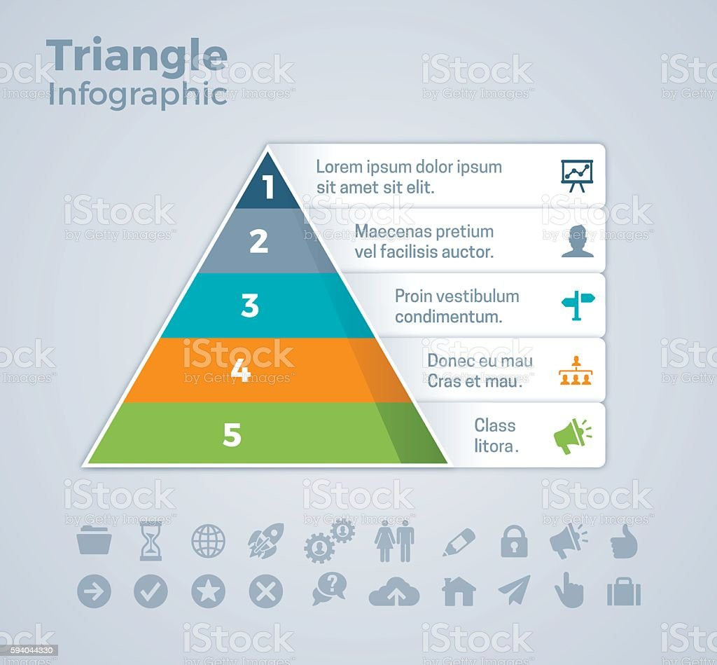 Five Option Triangle Infographic vector art illustration