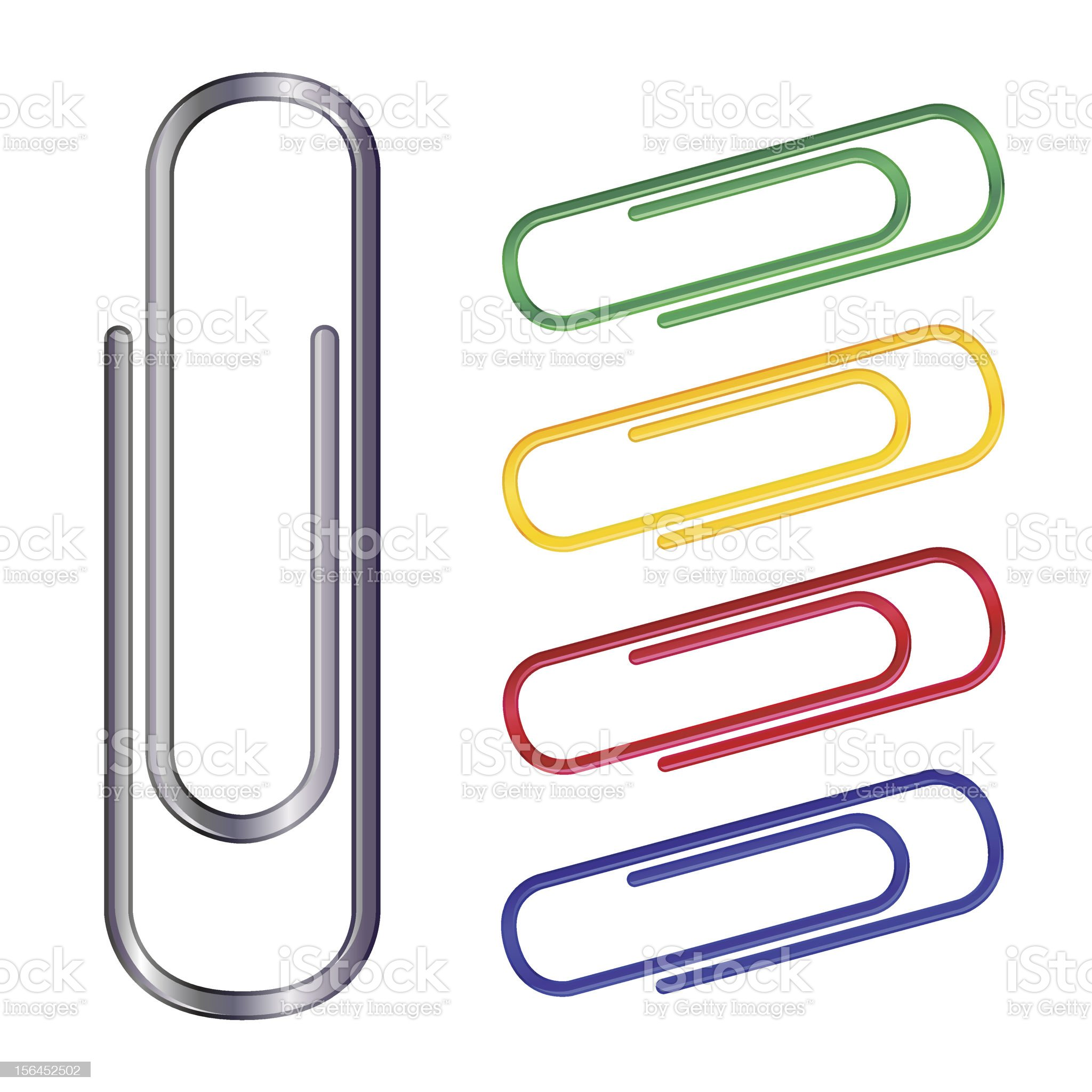 Five paperclips of various colors isolated on white royalty-free stock vector art