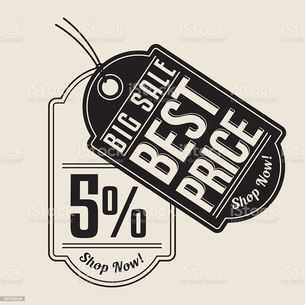 Five percent. Sale tag. vector art illustration