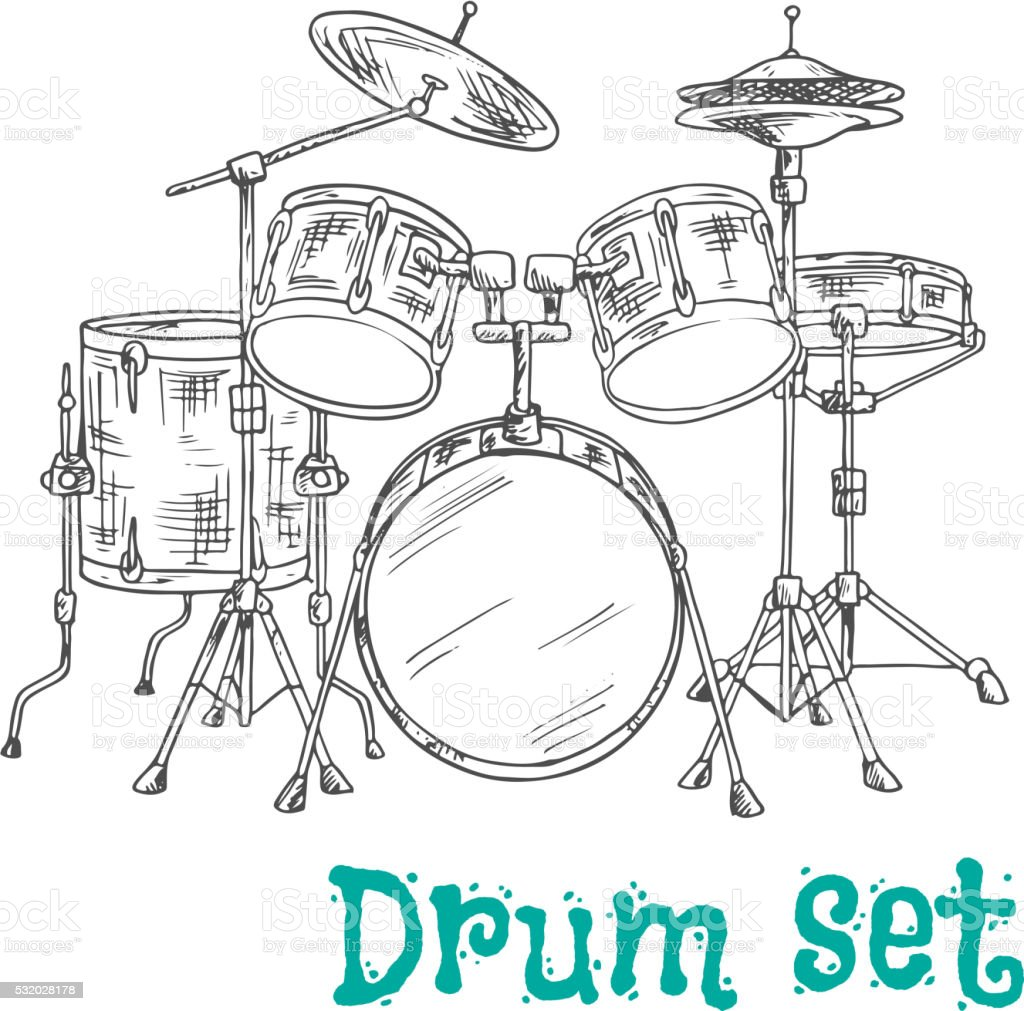 Five piece drum kit sketch icon vector art illustration