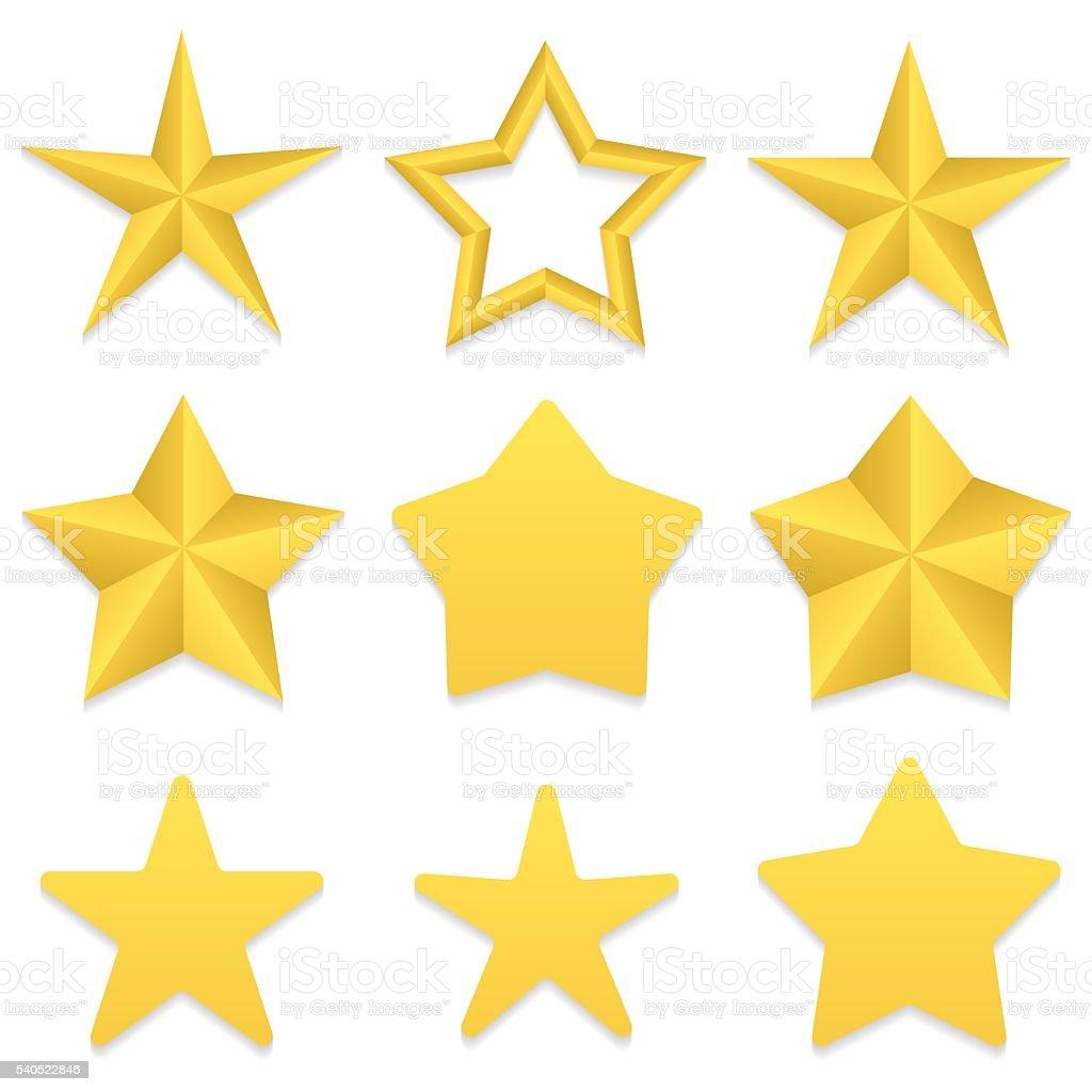 Five point stars collection vector art illustration