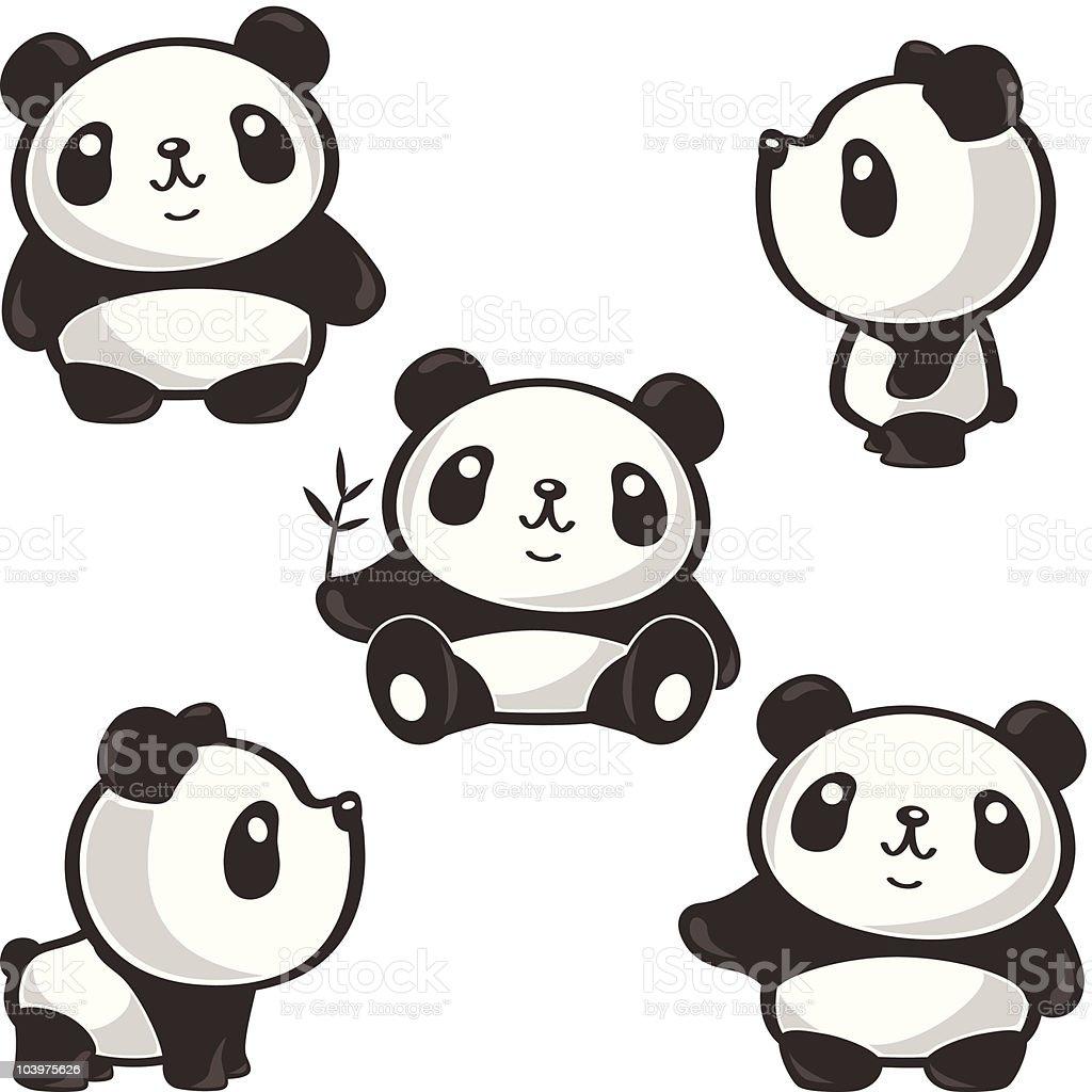 Five poses of panda vector art illustration