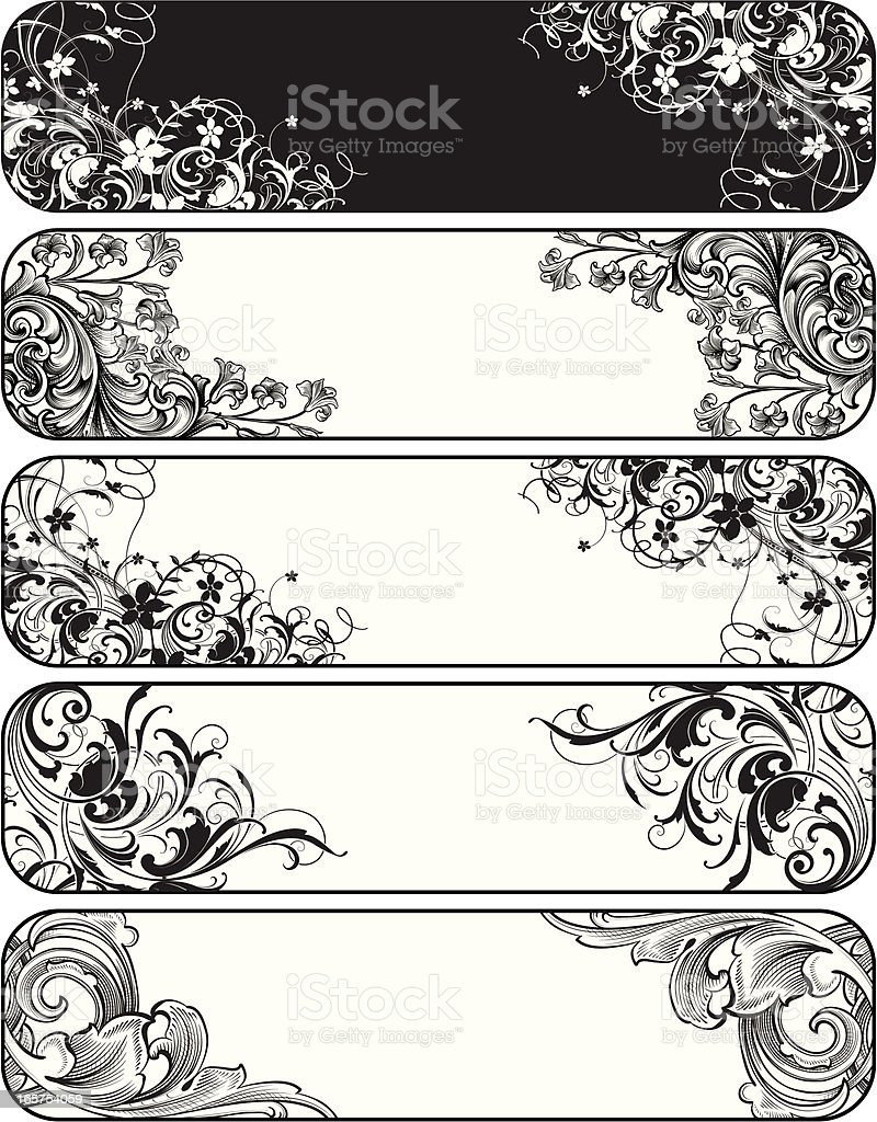 Five Scroll Banners of hand engraving royalty-free stock vector art