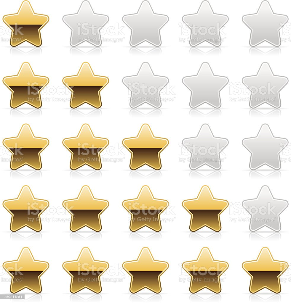 Five sign yellow star gold metal chrome rating icon button royalty-free stock vector art