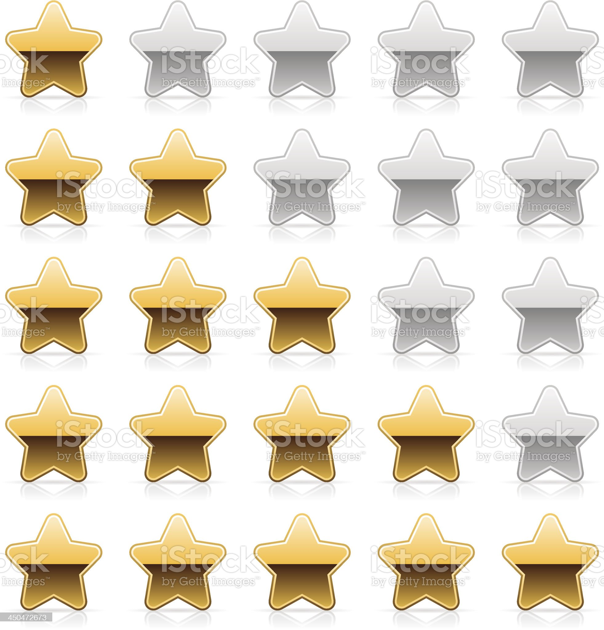 Five sign yellow star gold silver metal chrome rating icon royalty-free stock vector art