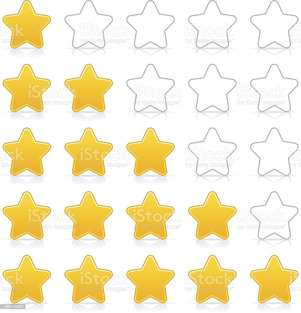 Five sign yellow star web icon button internet rating royalty-free stock vector art