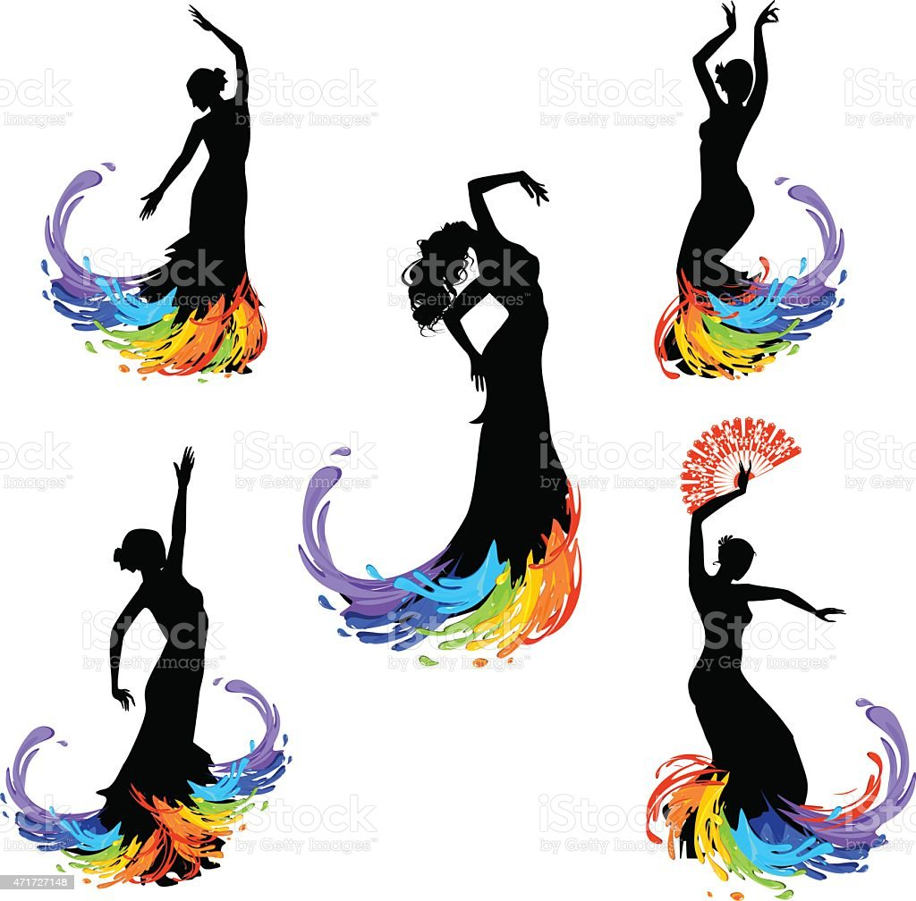 Five silhouettes of dancer vector art illustration
