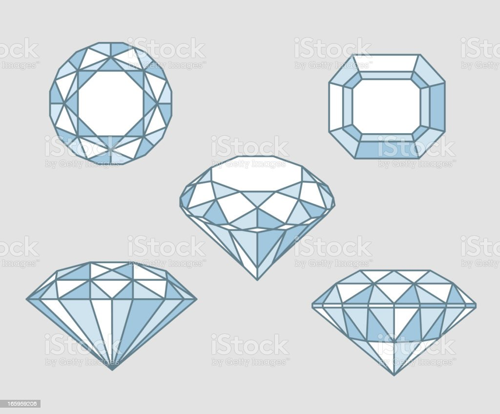 Five Sparkling diamond rocks from different angles point of view royalty-free stock vector art
