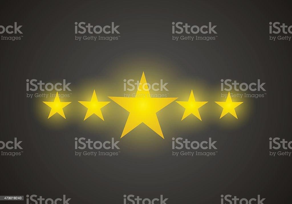 Five star quality rating vector art illustration