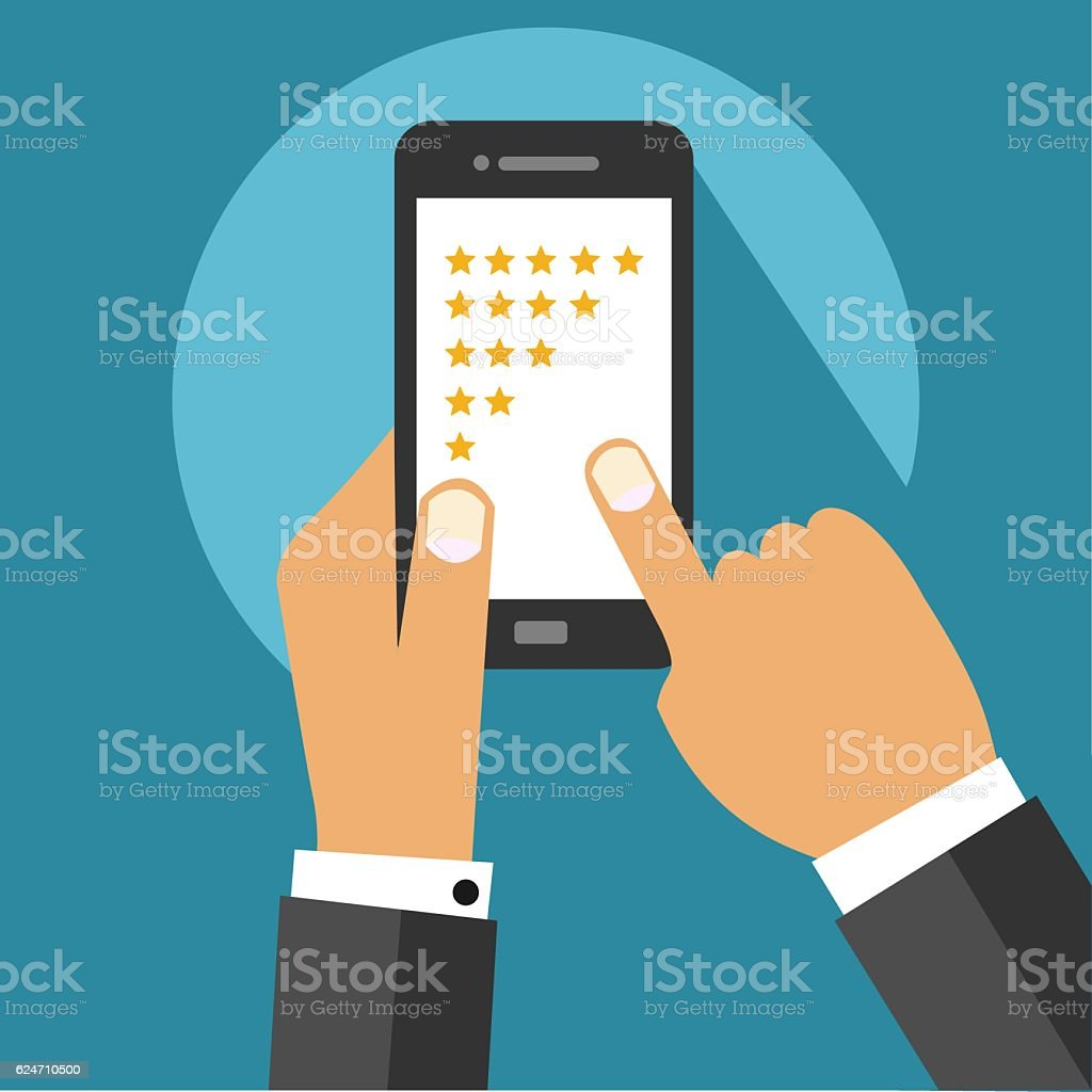 Five Star Rating System on Mobile Device Screen With Hands vector art illustration