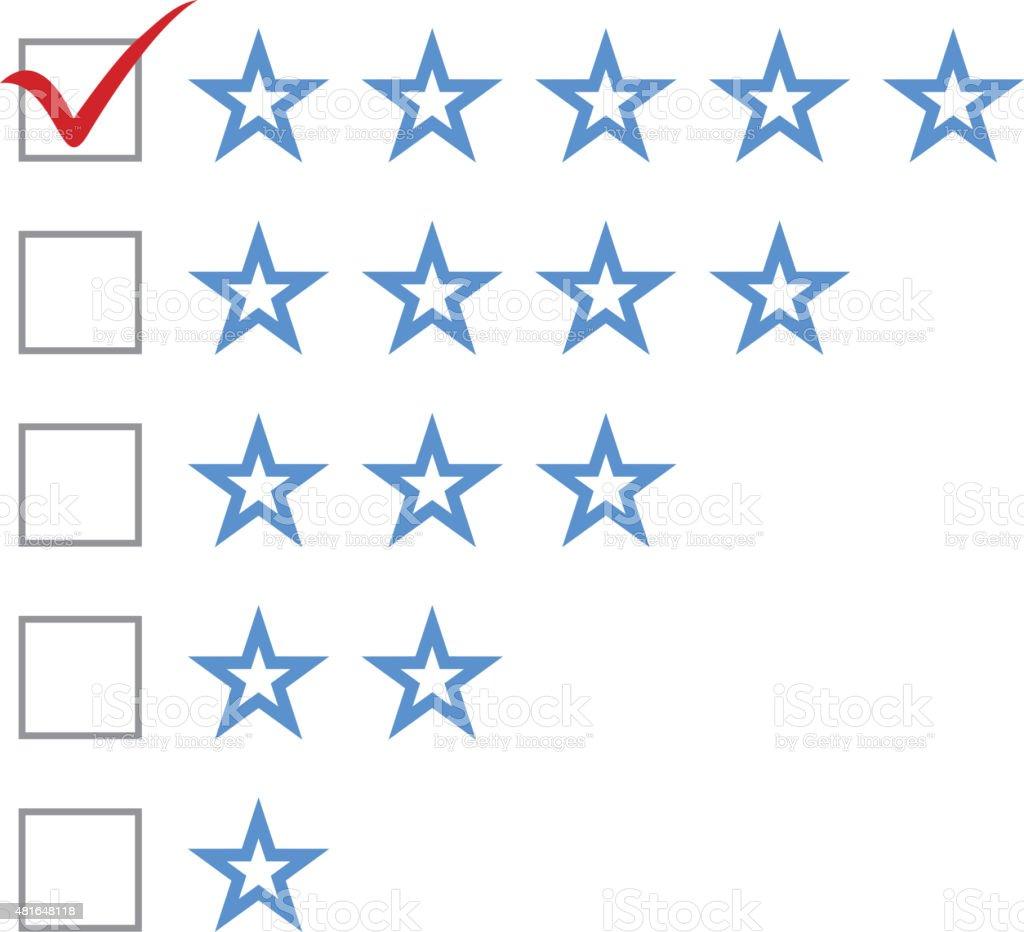 Five star rating vector art illustration