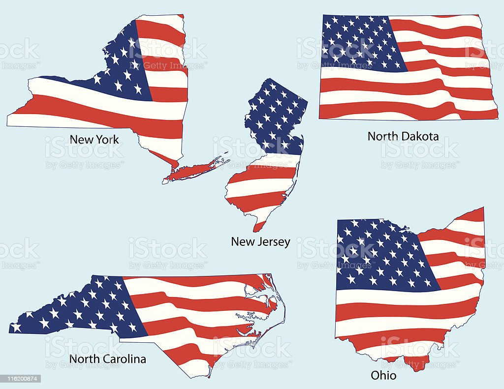 Five States with Flags royalty-free stock vector art