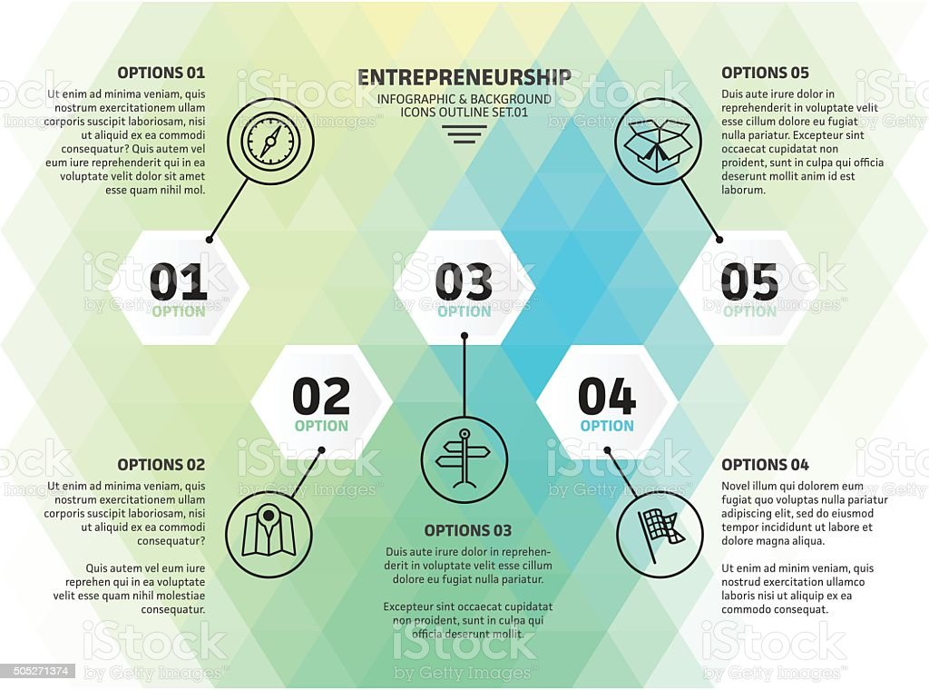 Five Step Entrepreneur Infographic vector art illustration