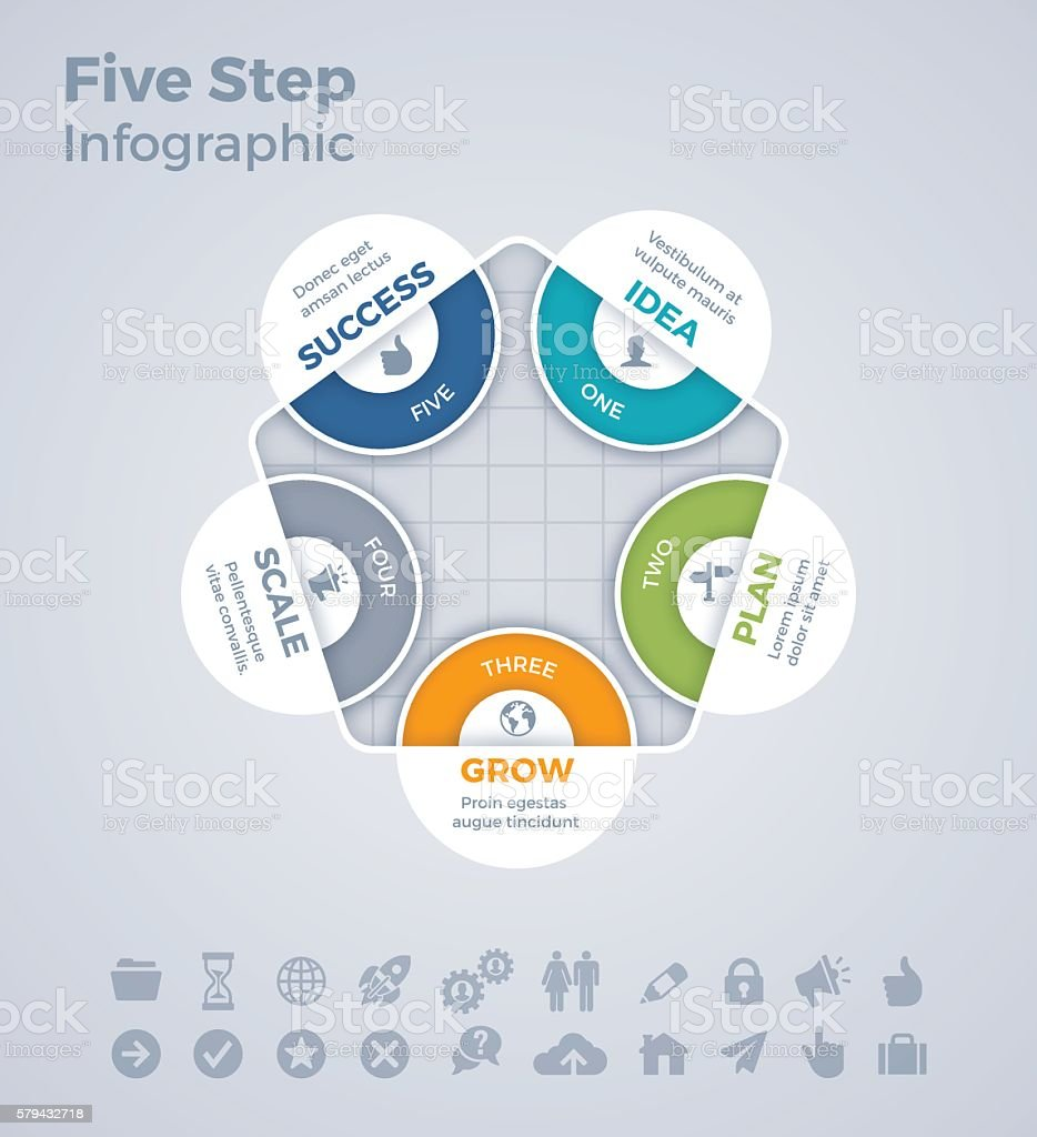 Five Step Infographic vector art illustration