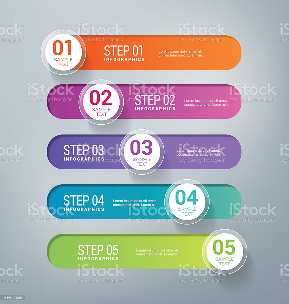 Five Steps Infographics Banners vector art illustration