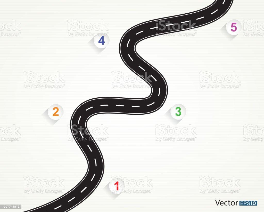 Five steps road vector art illustration