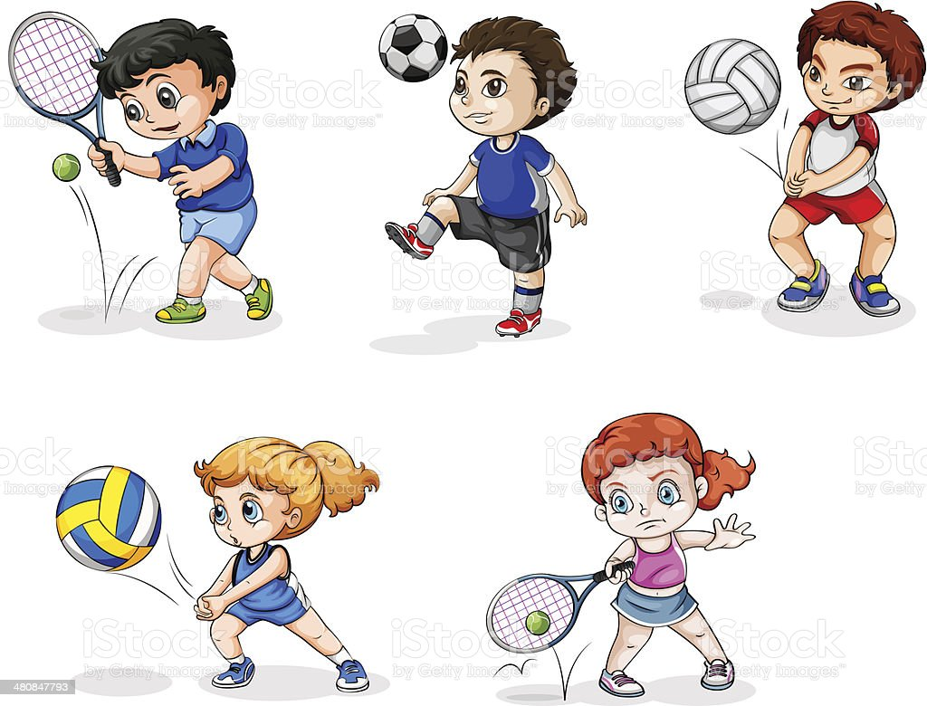Five teenagers engaging in different sports vector art illustration