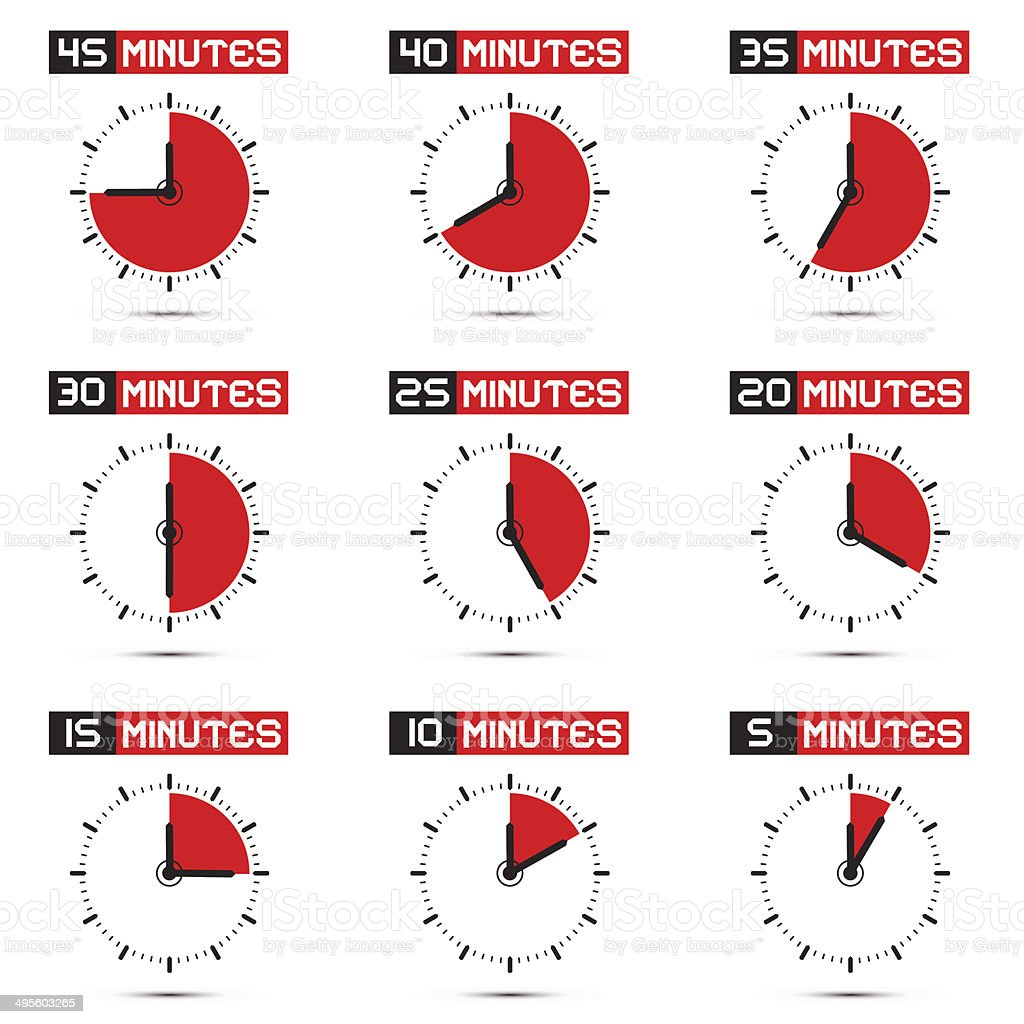 Five to Forty Five Minutes Stop Watch Illustration vector art illustration
