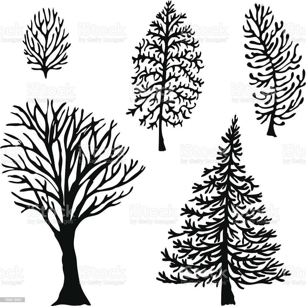 Five trees vector art illustration