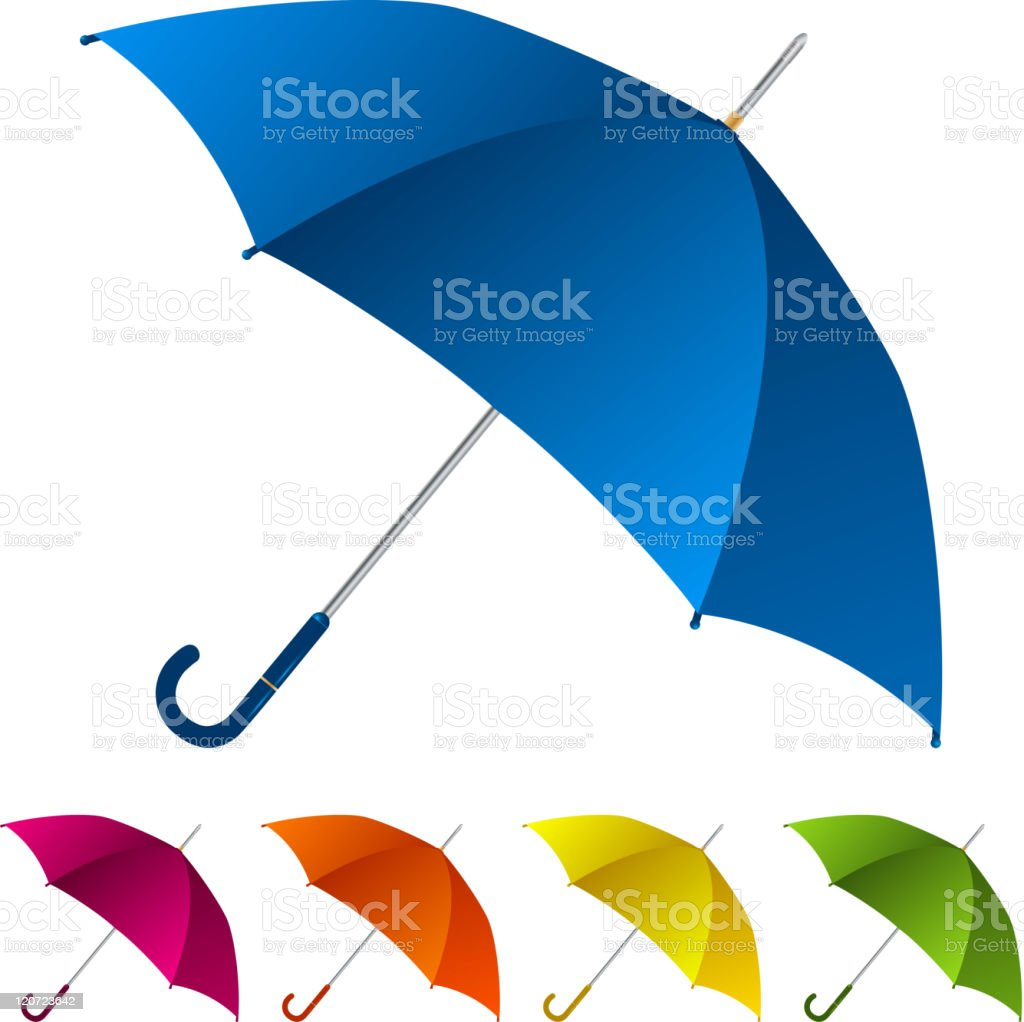 Five umbrellas of different colors vector art illustration