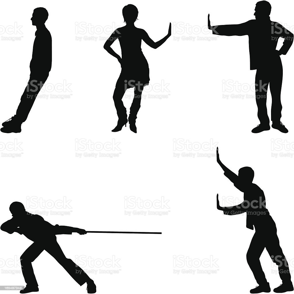 Five Useful Poses vector art illustration