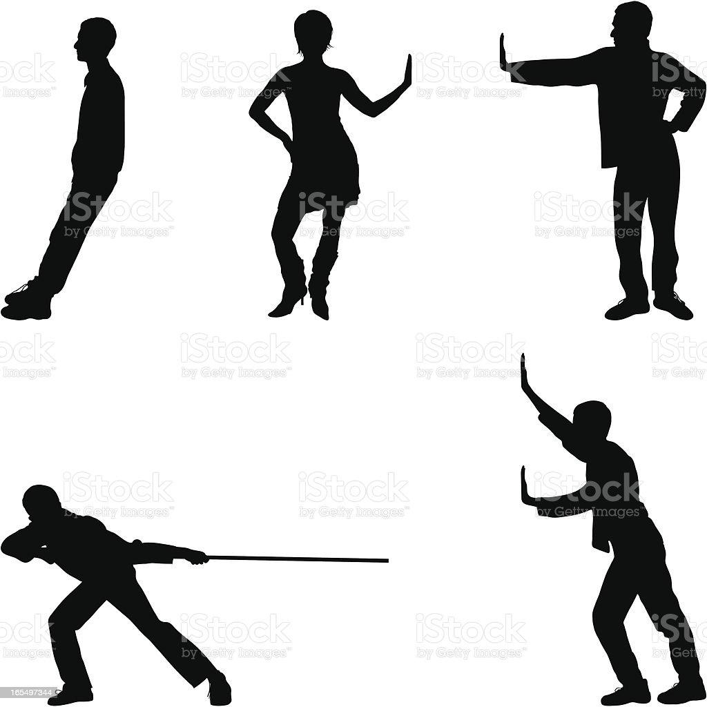 Five Useful Poses vector art illustration