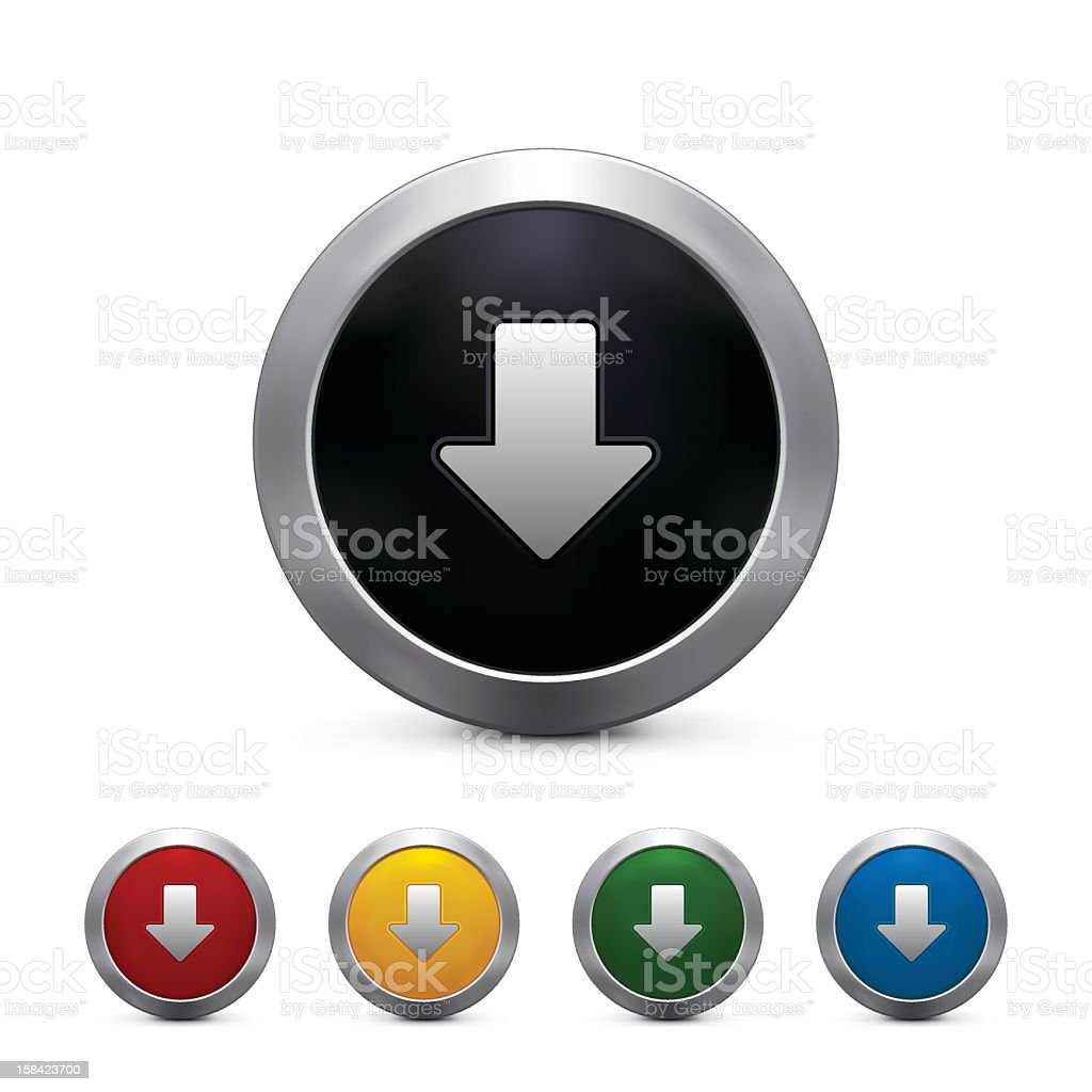 Five vectorized 3D download button in different colors royalty-free stock vector art