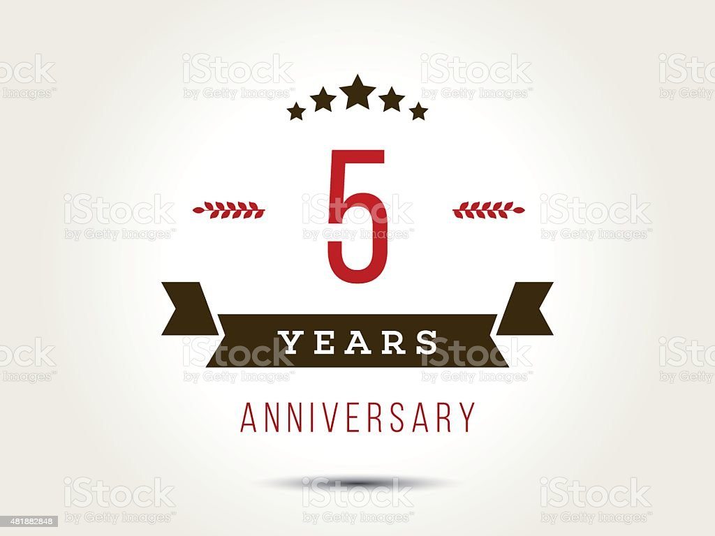 Five years anniversary celebration logotype. 5th anniversary logo. vector art illustration