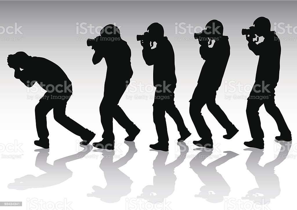 Five young photographers royalty-free stock vector art