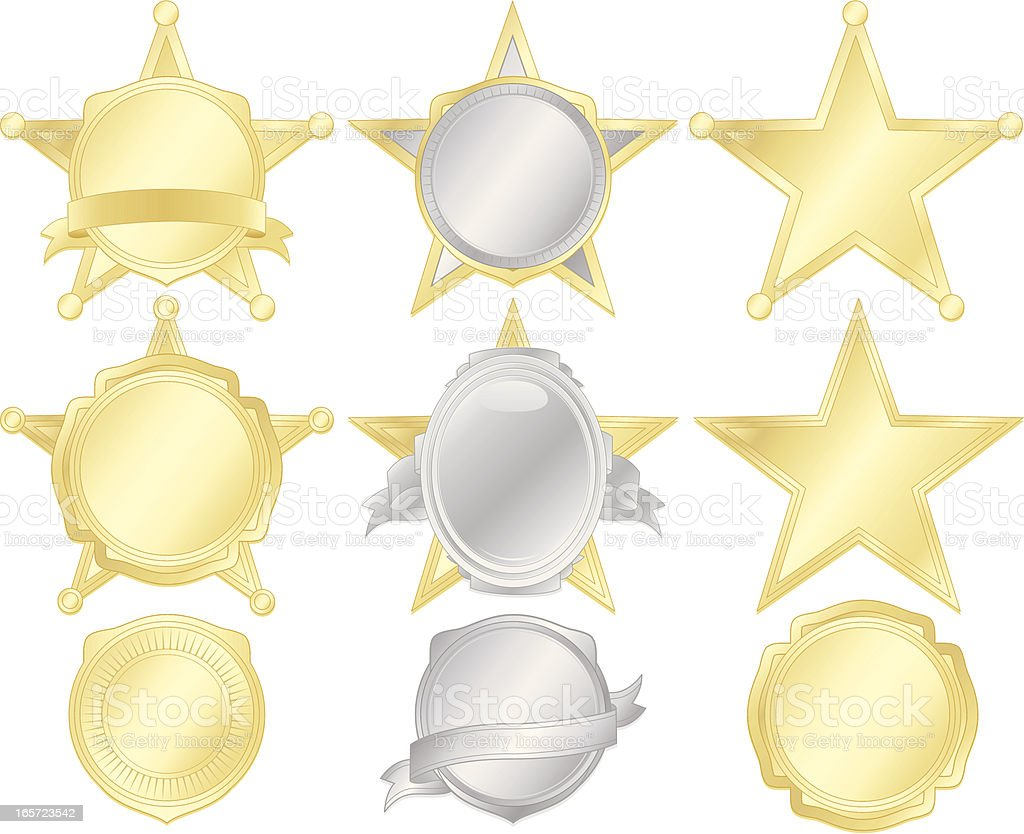 Five-Point Stars, Police Badges, Stickers, Shields Set - Gold, Silver vector art illustration