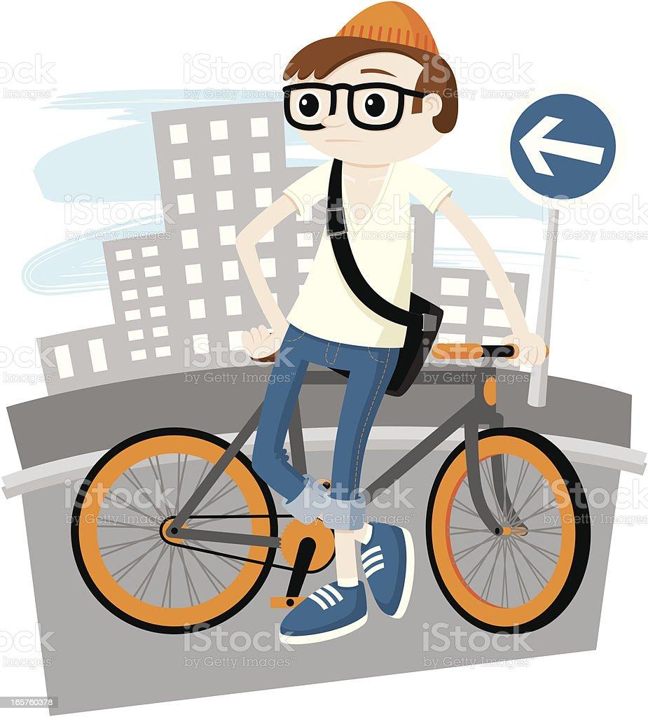 Fixie Hipster vector art illustration
