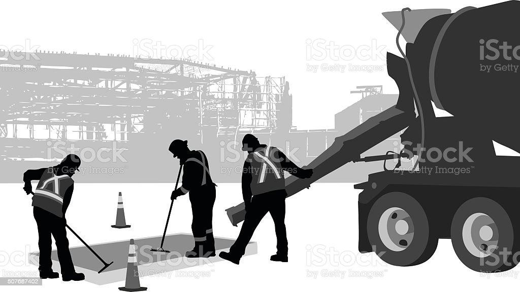 Fixing Sidewalks vector art illustration