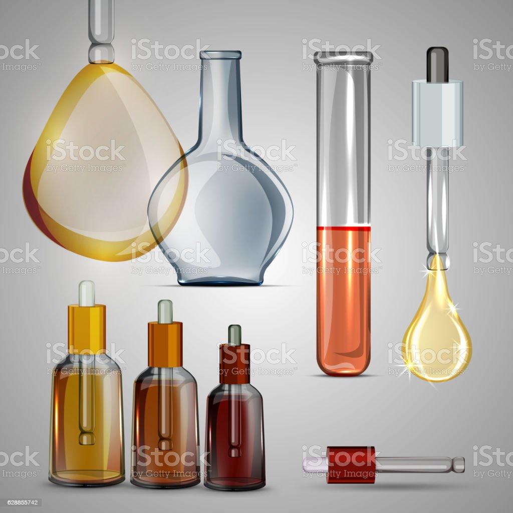 Flacons and bulbs set vector art illustration
