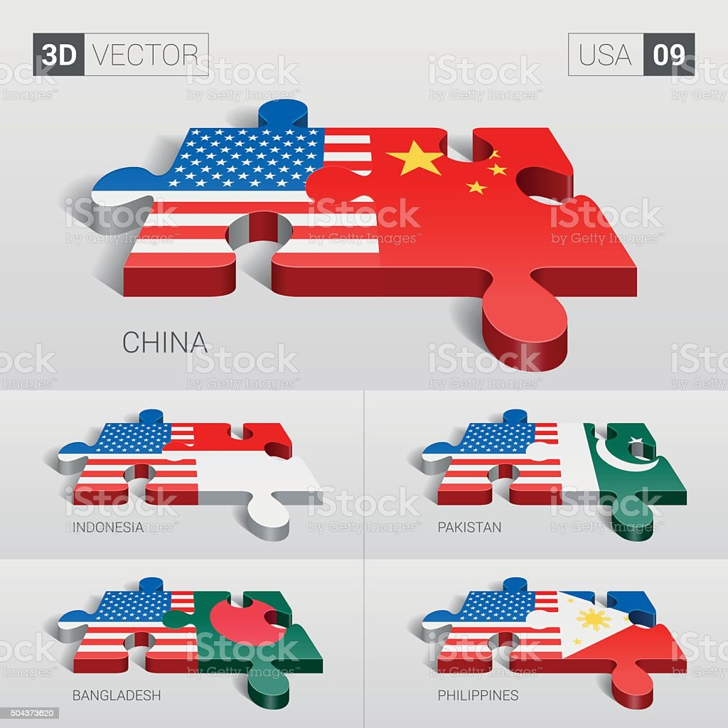 USA Flag. 3d vector puzzle. Set 09. vector art illustration