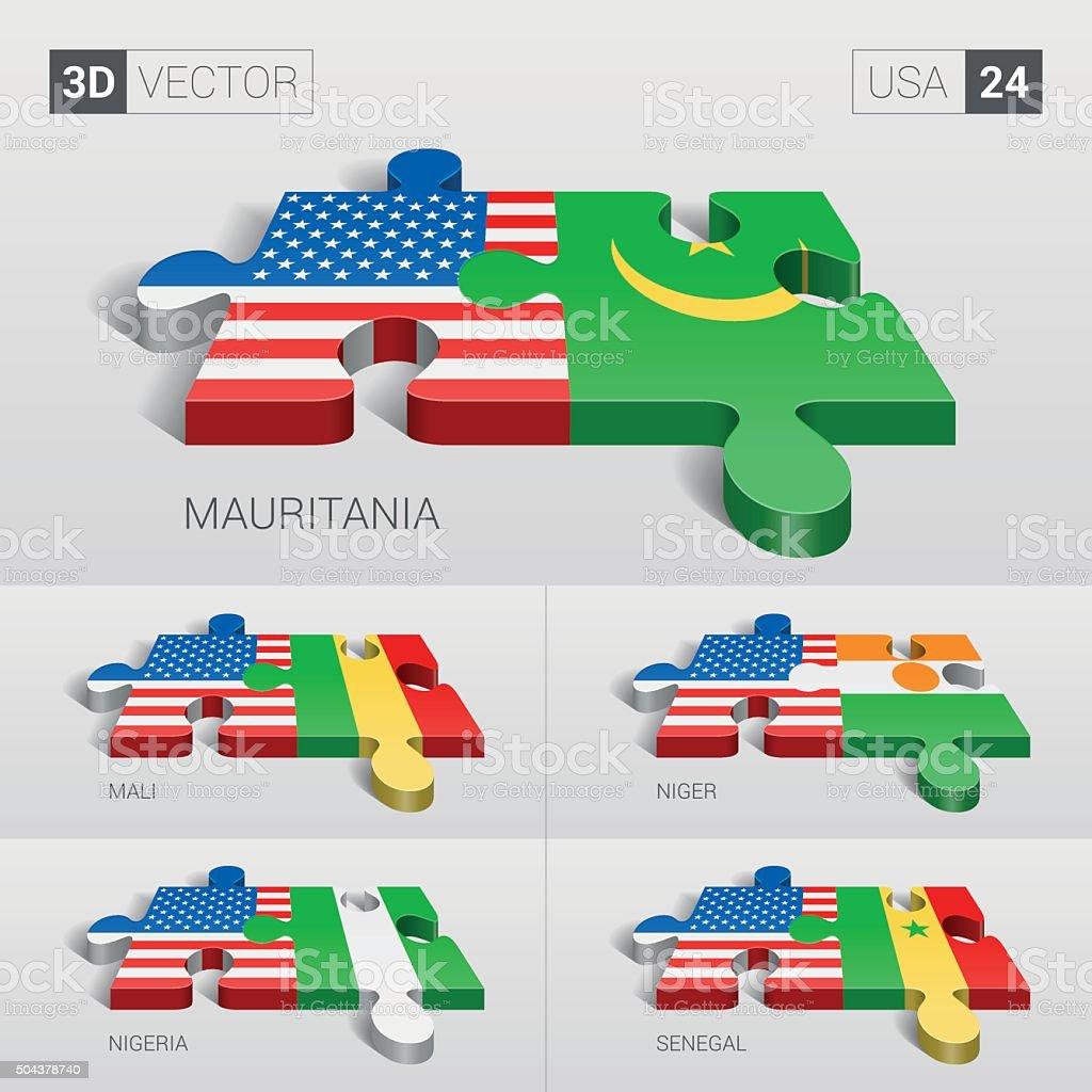 USA Flag. 3d vector puzzle. Set 24. vector art illustration