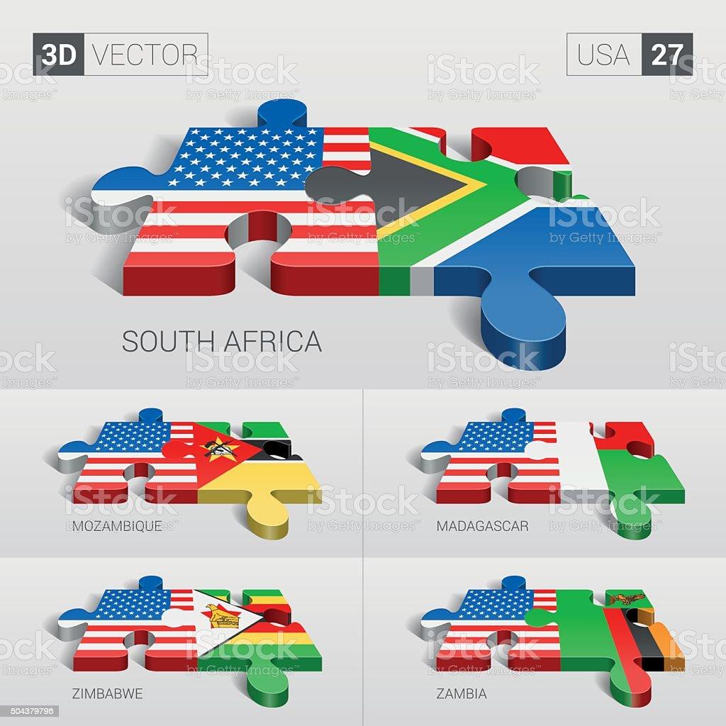 USA Flag. 3d vector puzzle. Set 27. vector art illustration