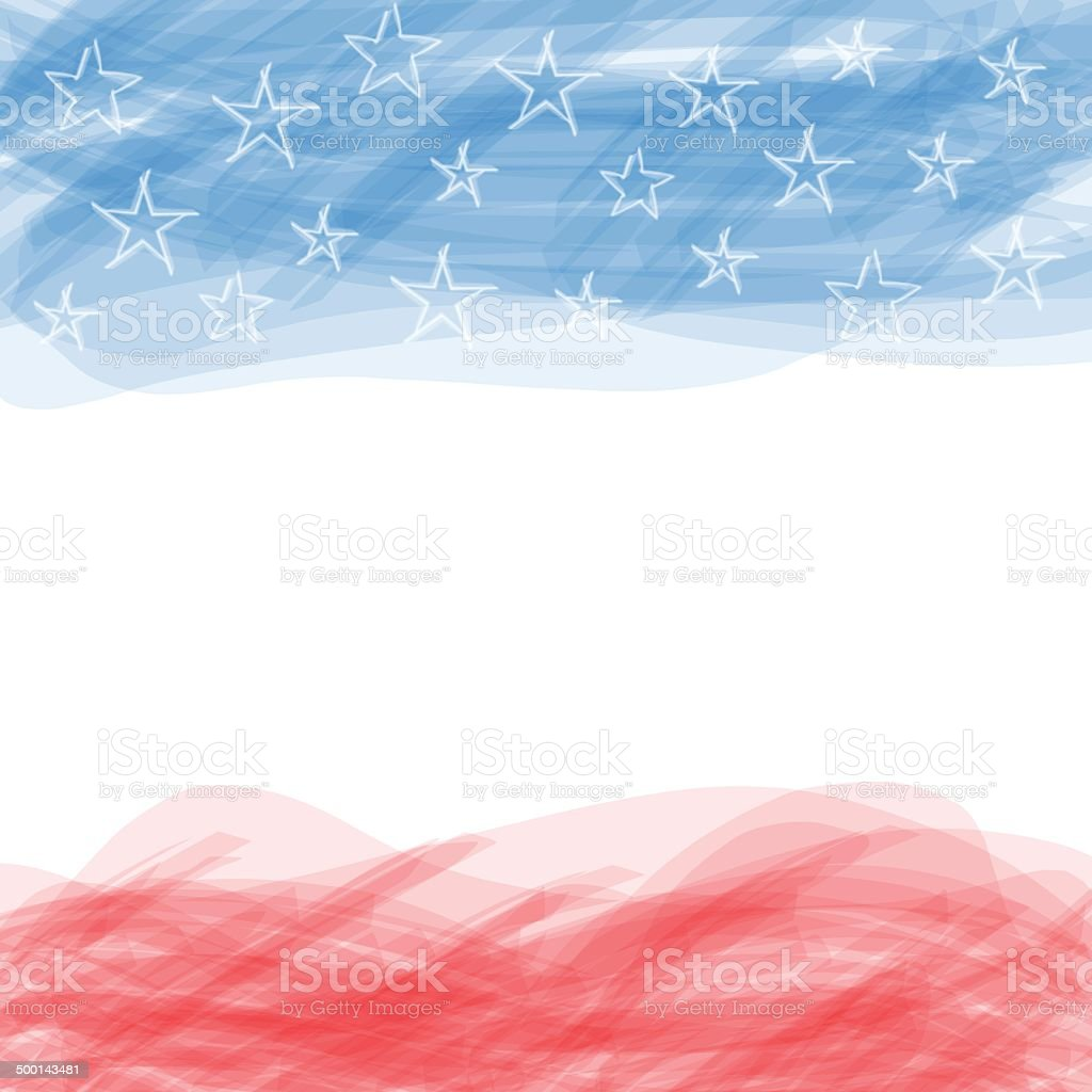 USA flag. A poster with a large scratched frame. vector art illustration