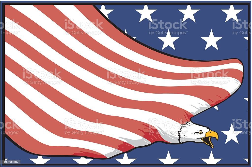 USA Flag and eagle royalty-free stock vector art