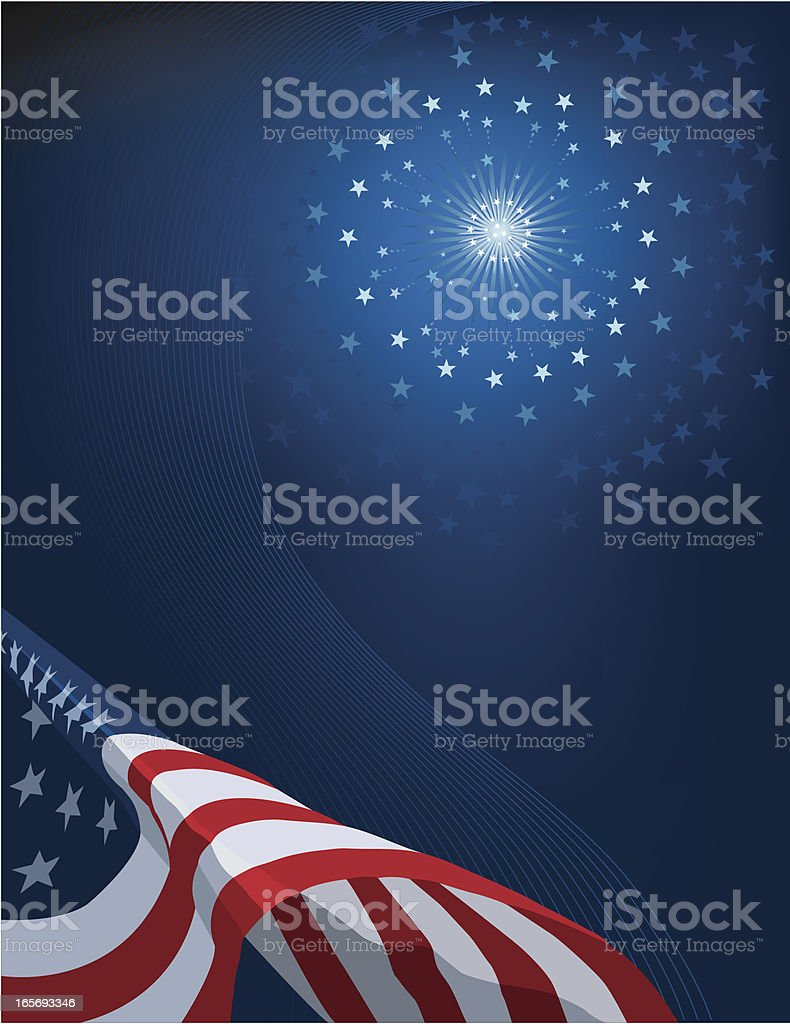 Flag and Fireworks royalty-free stock vector art