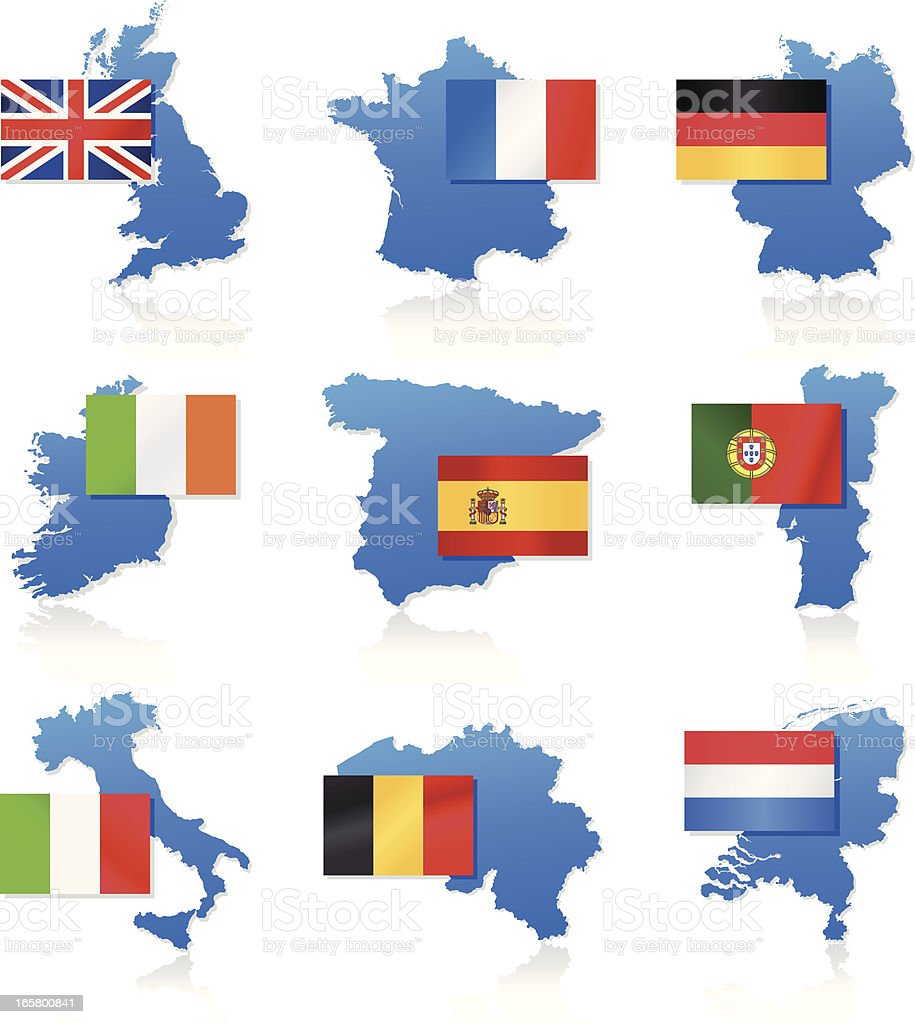 Flag and map icons - Western Europe royalty-free stock vector art